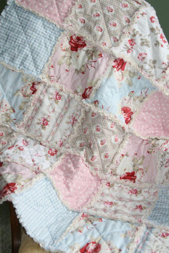 Crib Rag Quilt Baby Girl Crib Bedding Shabby Chic Nursery Petal Tanya ...