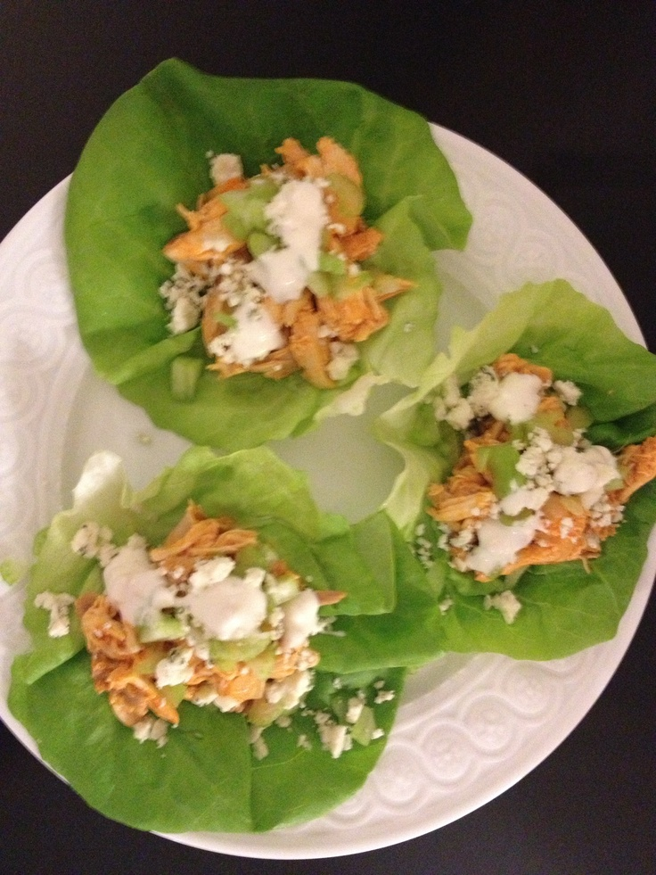 ... chicken onto lettuce leaves, sprinkle celery & blue cheese crumbles