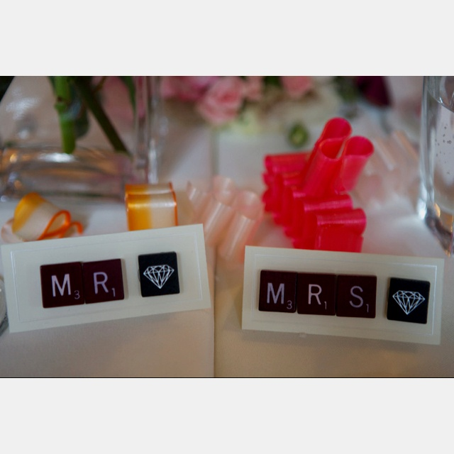 Seating tags at my wedding. :) all of the other guests tags had the first letter of their names - with their whole name printed out. It was cute.