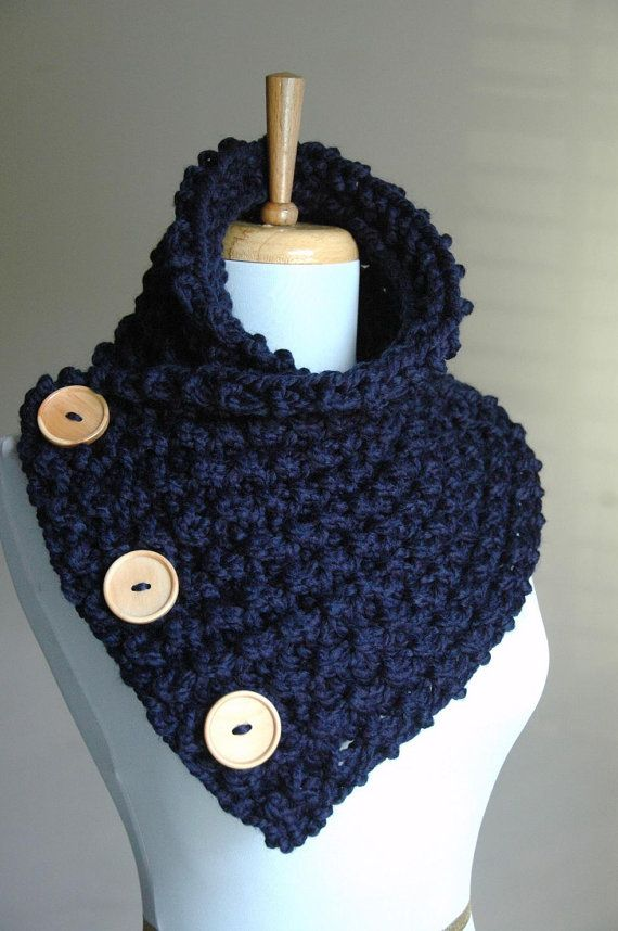 Knitted Cowl Pattern With Buttons : Chunky Knit Navy Blue Button Scarf with Wood Buttons - Original Design