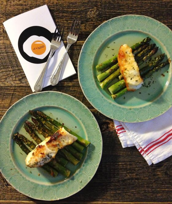 miso sea bass with roasted asparagus, from of a kind's cookbook