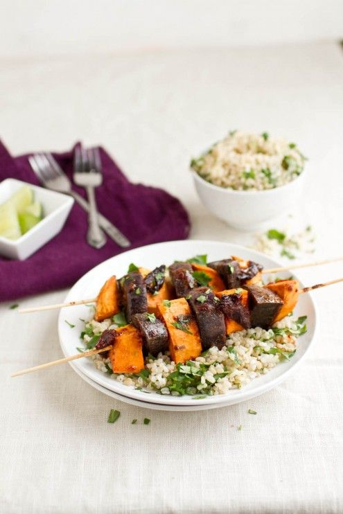 chipotle sweet potato skewers with cilantro lime rice (sub maple syrup ...