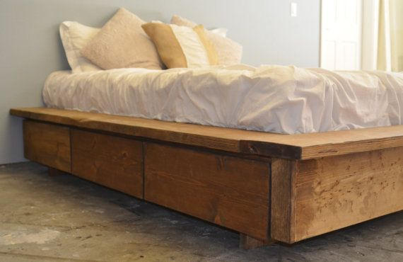 Sale rustic floating platform bed with drawer storage for Floating platform bed with storage