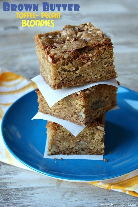 Brown butter toffee-pecan blondies | Food to try | Pinterest
