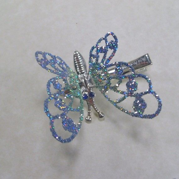 Reserved for Lucy. antique vintage trembler butterfly hair clip