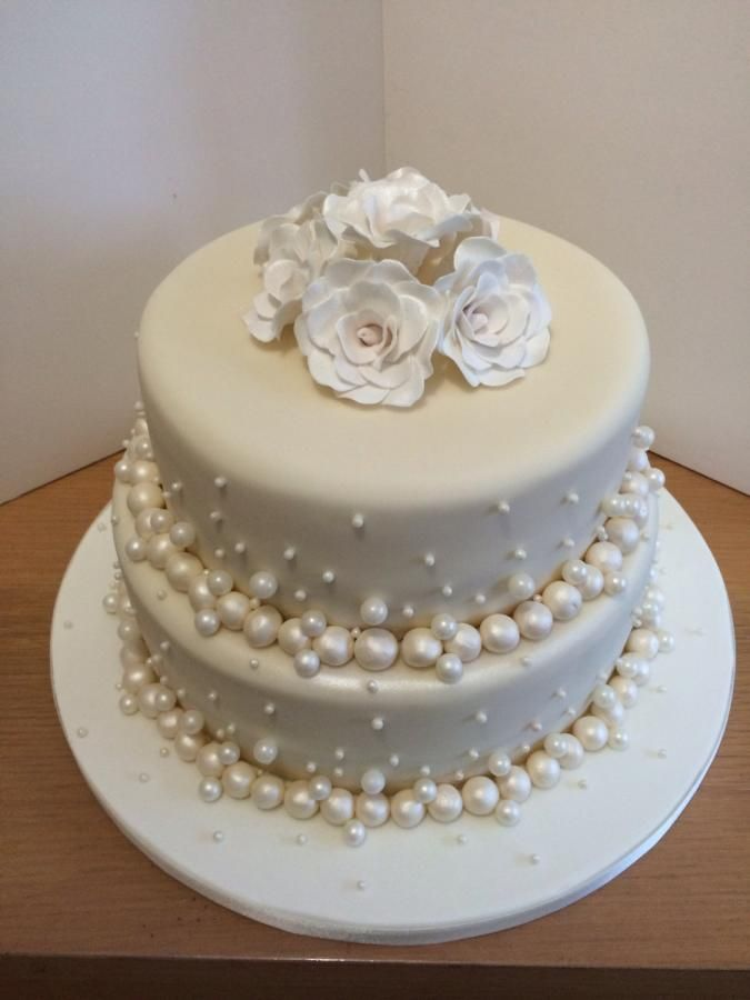 Pearl anniversary cake anniversaries pinterest for Anniversary cake decoration