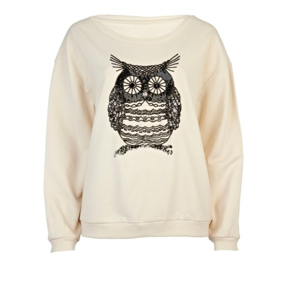 Cream Owl Embellished Sweat Top