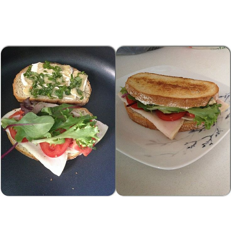 Grilled Turkey, Brie and Basil on Rye with Fresh Roma's and Mixed ...
