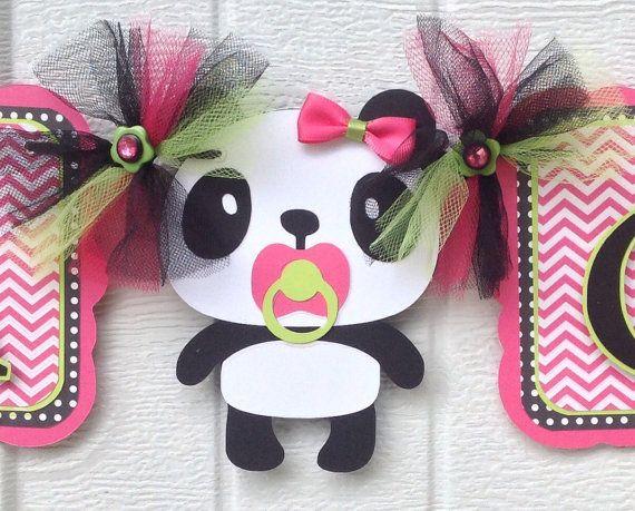 panda banner panda baby shower banner panda decorations hot pink