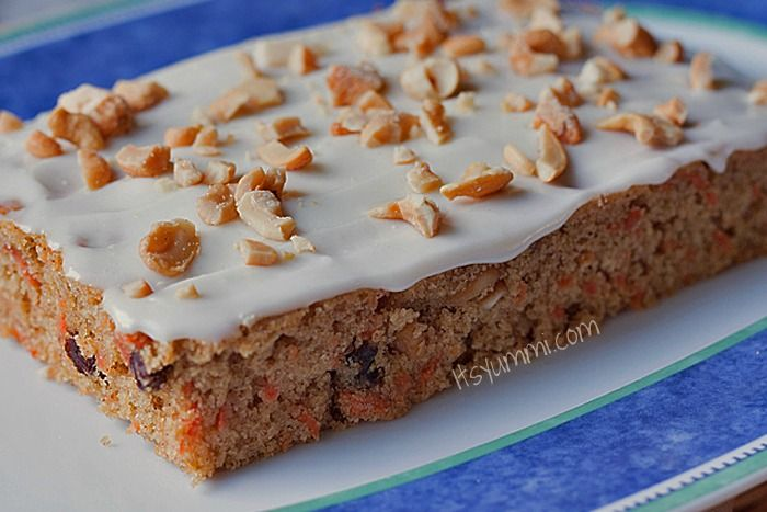 ... low-fat cream cheese frosting and some salted cashews to give it a