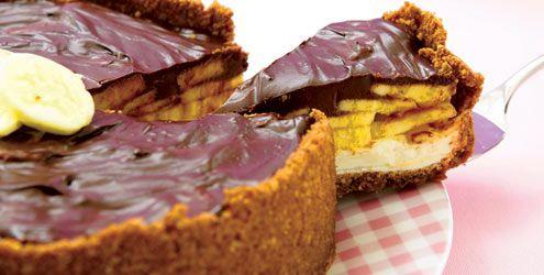 Cheesecake de chocolate e banana! Andei fazendo um desses!