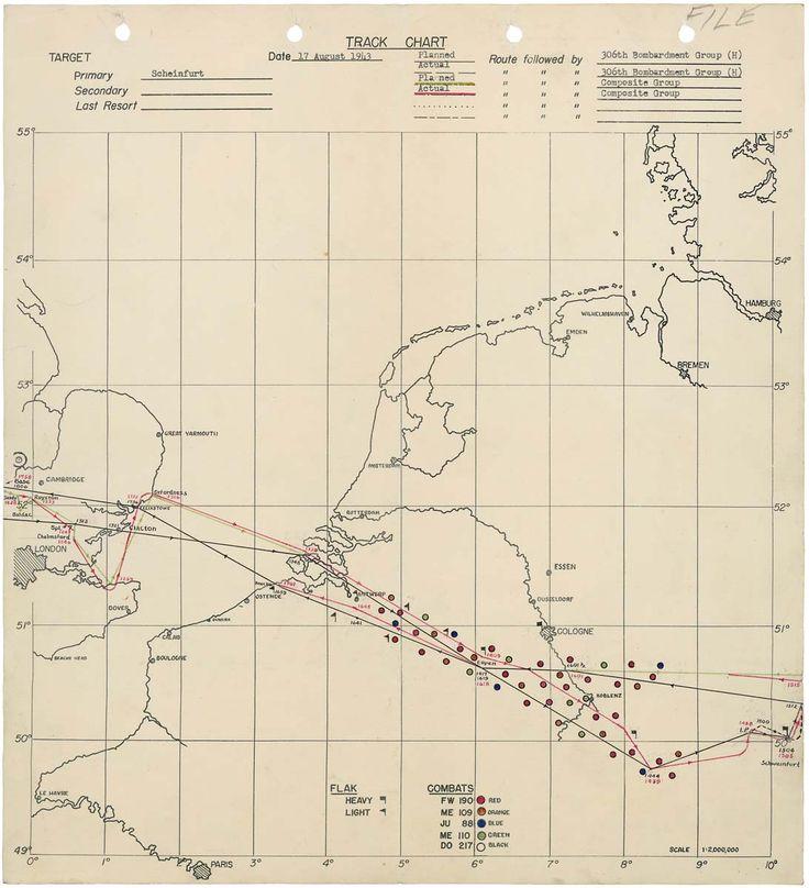 World War II bomb tracking chart: Schweinfurt Raid against Germany 8/17/43