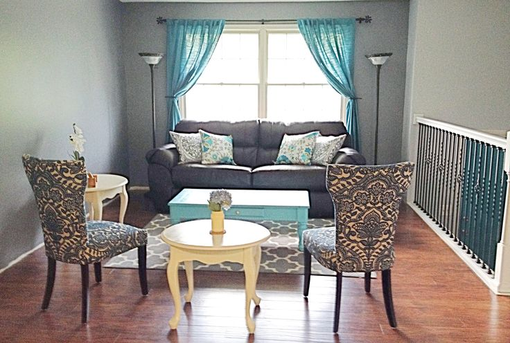 teal and gray living room for the home