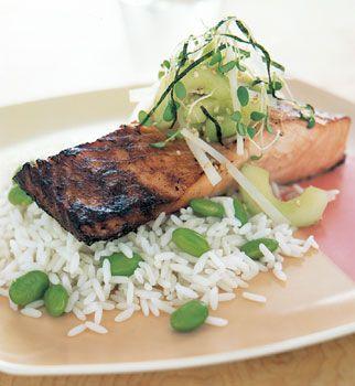 Miso-Marinated Salmon with Cucumber-Daikon Relish | Recipe