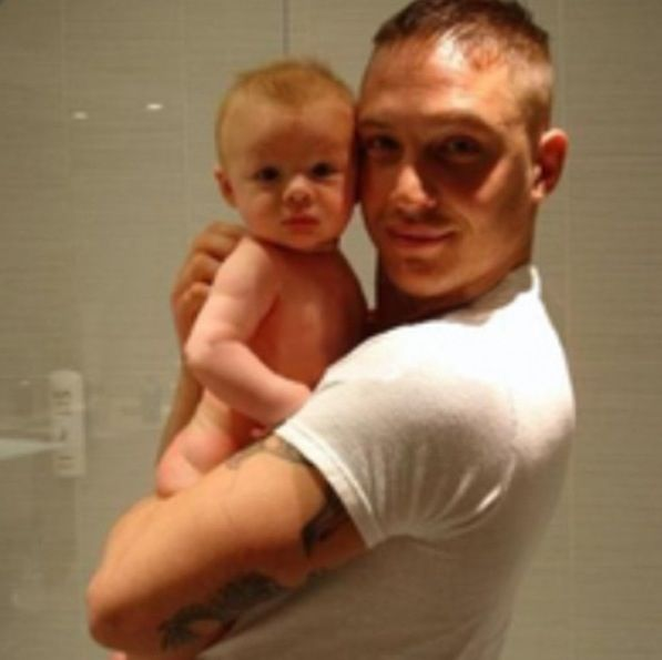 Tom Hardy and his baby...