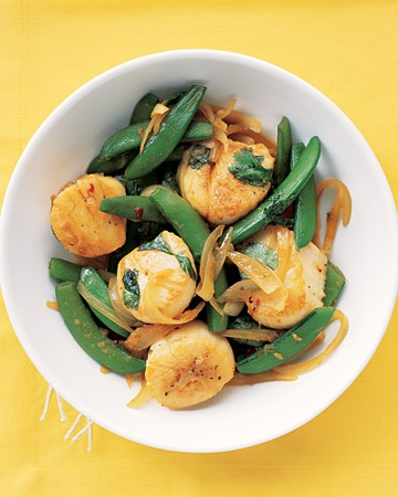Scallops With Asparagus And Sugar Snap Peas Recipe — Dishmaps