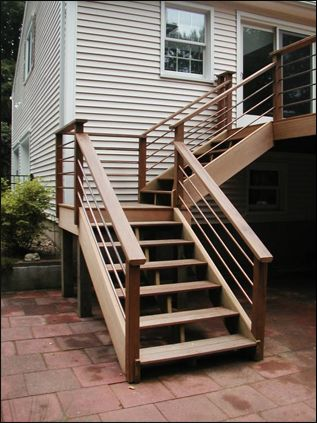deck stairs but with black spindles exterior pinterest