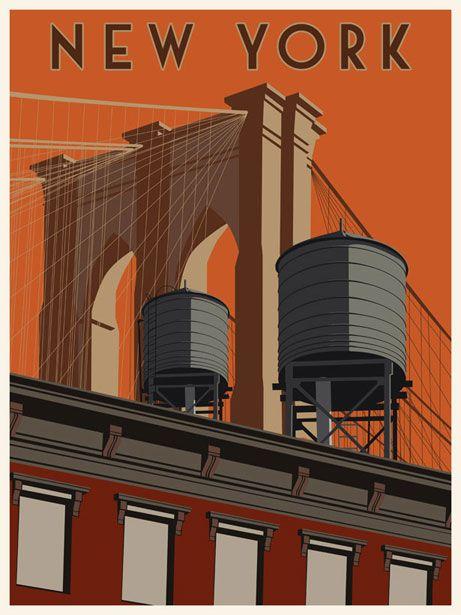 steve thomas art new york usa vintage travel posters. Black Bedroom Furniture Sets. Home Design Ideas