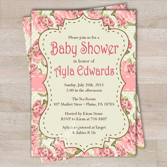 diy invitation shabby chic roses baby shower by pinksugarpartyshop 9