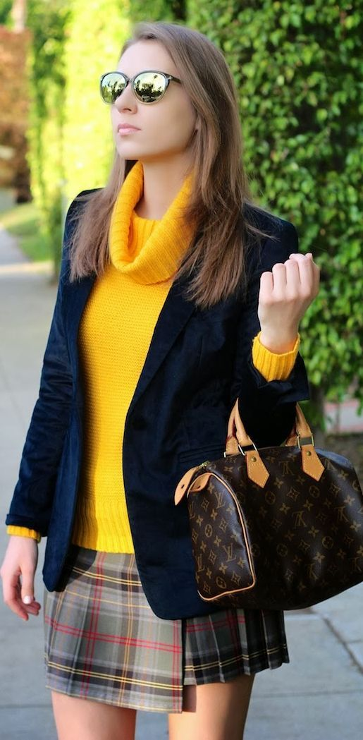 Yellow neck round sweater, navy jacket and skirt