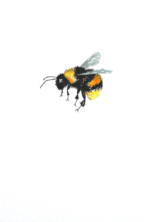 Watercolor Painting Original Bumble Bee 6x9