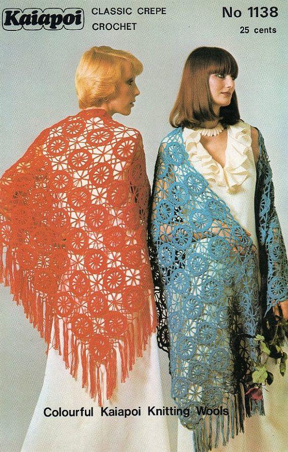 Crochet Patterns For Shawls Vintage : Vintage Crochet Shawl pattern PDF Post FREE