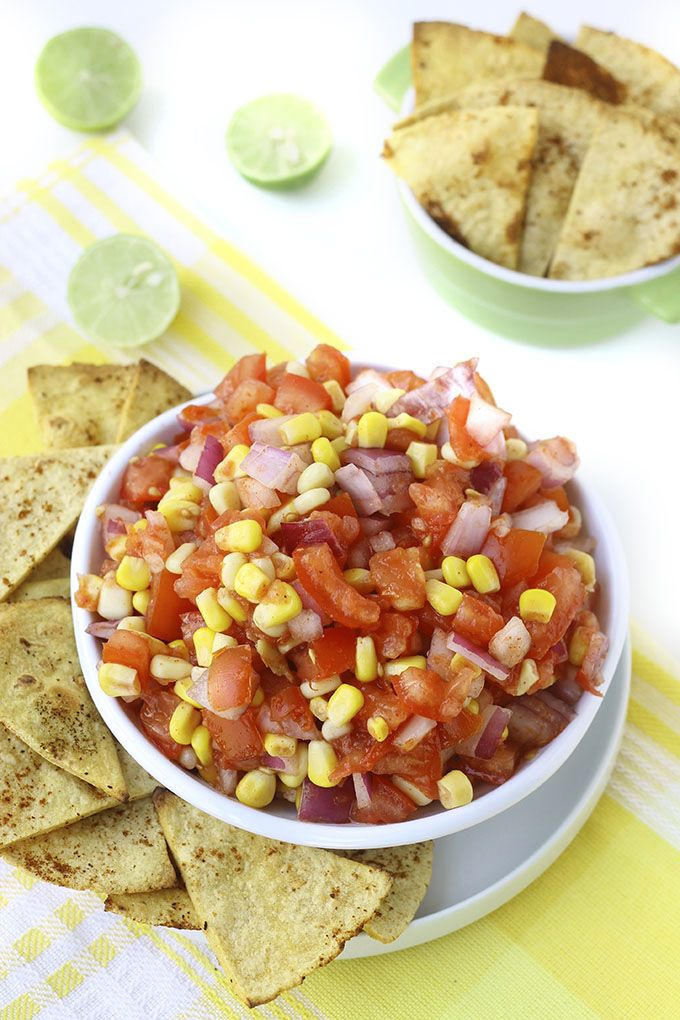 Fresh Corn Salsa with Baked Chili Lime Tortilla Chips | Recipe