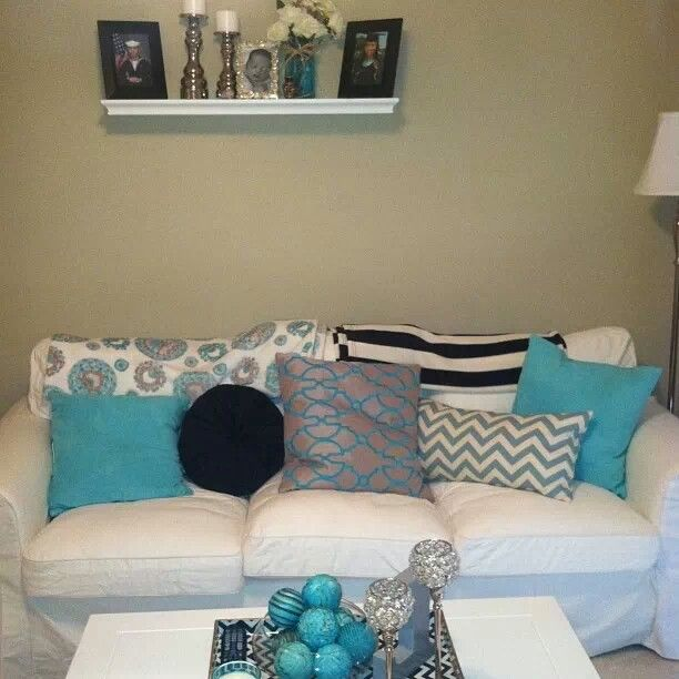 Turquoise White And Gray Living Room Living Room Pinterest