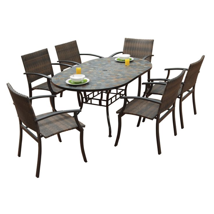 Harbor Oval Dining Table And Newport Arm Chairs 7 Piece Outdoor Dining