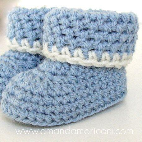 Crochet Cuffed Baby Booties Pattern : Cozy Cuffs Crochet Baby Booties Pattern PDF Download