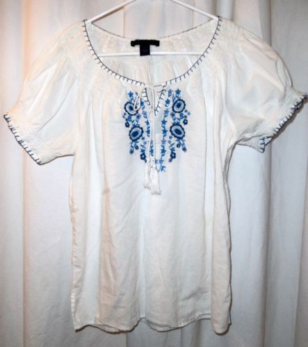 For women blouse tops ladies shirts online blue shirt women's black and Kafeimali Women's Mexican Blouse Embroidered Peasant Dressy Tops 3/4 Sleeve. by Kafeimali. Liliana Cruz Embroidered White Peasant Blouse with Solid Color Embroidery. by Liliana Cruz. $ $ .