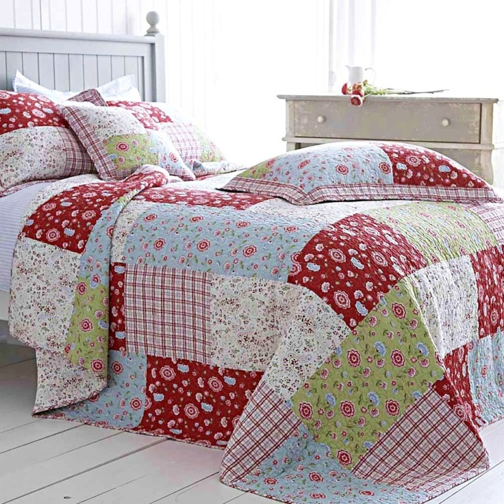 Red and white quilt patchwork Etsy