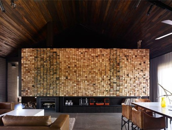 Wood block feature wall