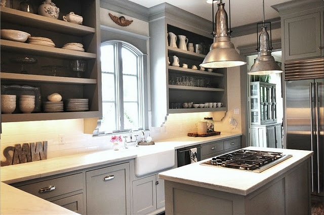 Sally Wheat kitchen AMAZING! I love everything open shelving, gray