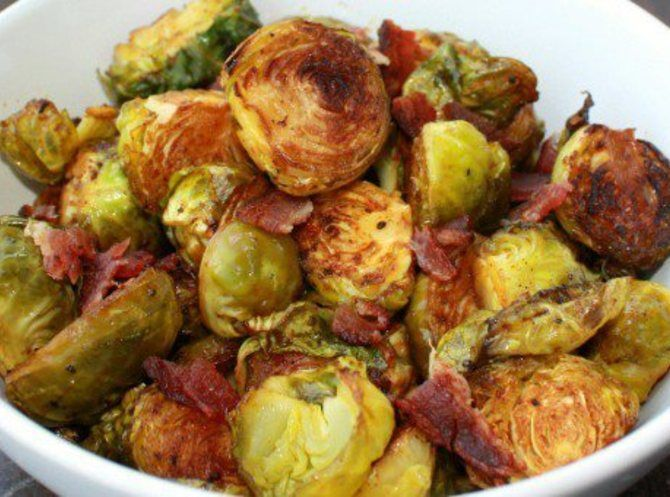 Roasted Potatoes With Brussels Sprouts & Bacon Recipes — Dishmaps