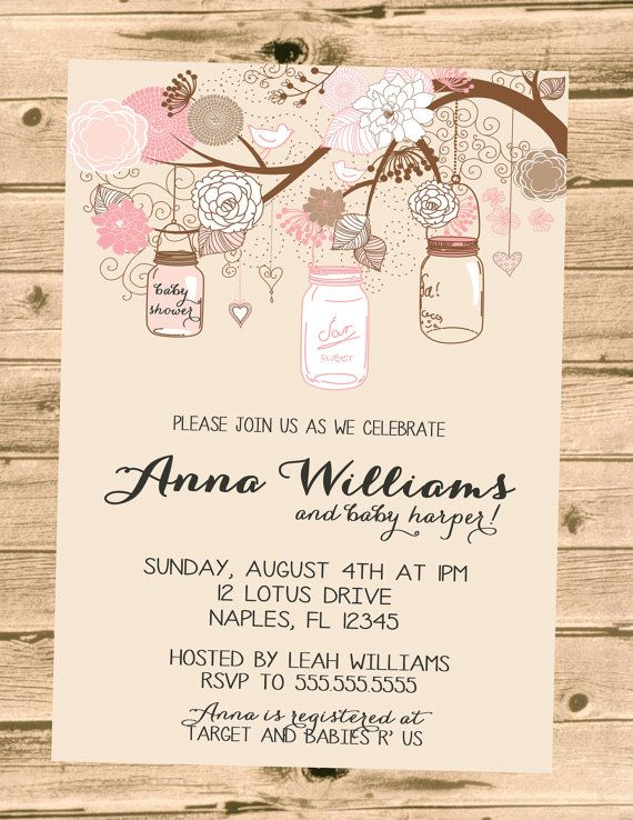 chic mason jar bridal baby shower invitation printable diy