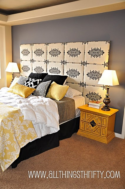 Love the headboard (I would make mine smaller but hers is lovely)...Love the bedside tables and the color and finish of them