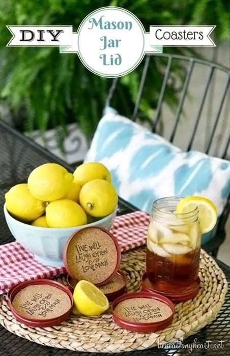 DIY Mason Jar Lid Coasters!  Find the tutorial at TidyMom.net