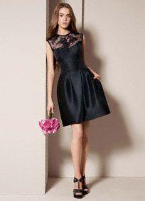 White by Vera Wang Mikado Corded Lace Illusion Neckline Bridesmaid Dress, Sryle VW360156 #davidsbridal #bridesmaidsdresses #blacktie #weddings