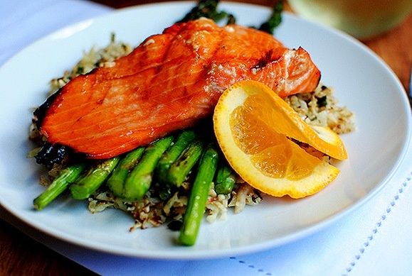 Maple Orange Grilled Salmon with Cauliflower Rice and Asparagus