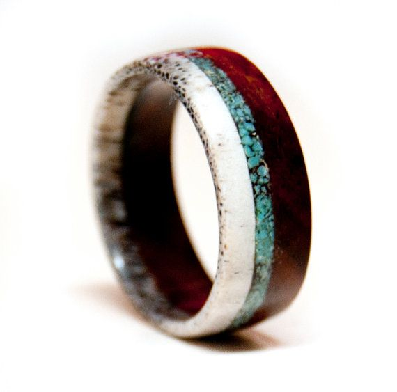 Wood And Antler Ring Band With Turquoise Inlay