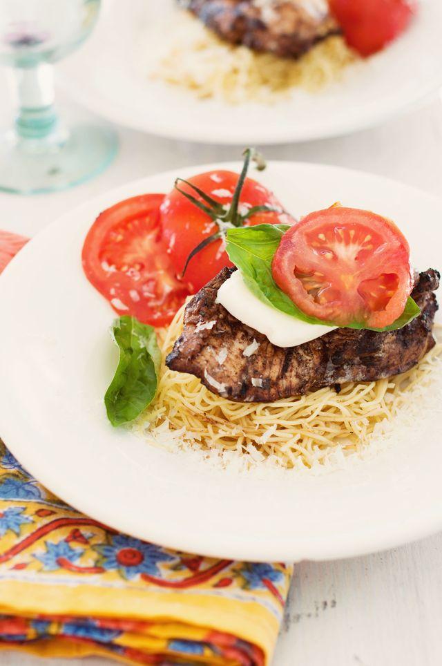 ... Caprese Chicken (W/ egg white or whole wheat pasta) - marinate chicken