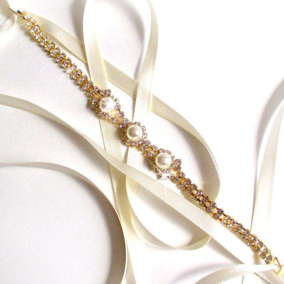 gold rhinestone ribbon bridal headband white or ivory satin gold