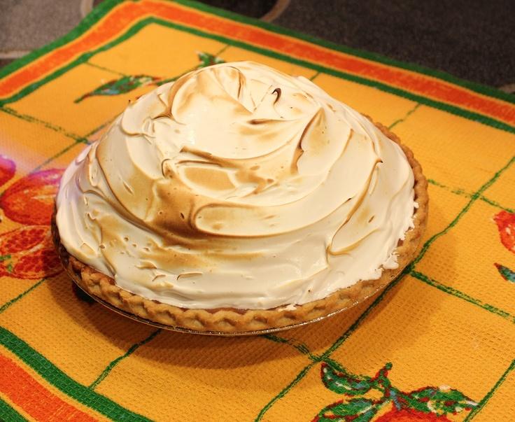 deep dish pumpkin pie with meringue topping