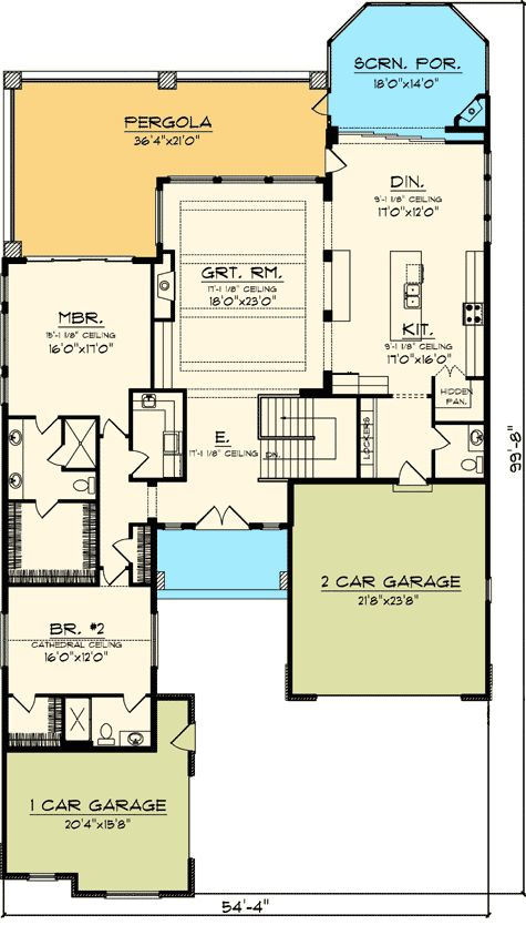 2 Bedroom Rustic Ranch Home Plan