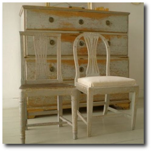 Swedish distressed paint wallpaper and painted furniture pinter