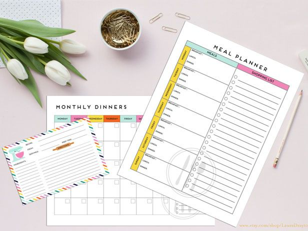 Pretty Menu Planners to Keep You Organized