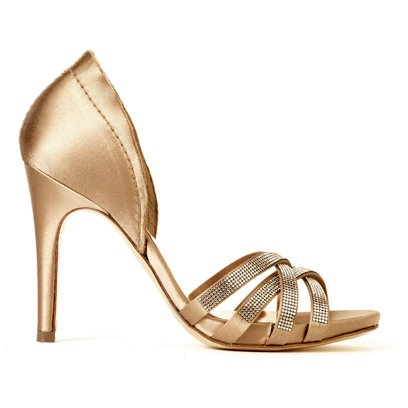 Fit for any white frock - these pale gold satin heels will round off