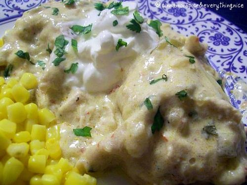 Baked Green Chile Chicken Enchiladas. This is an unbelievably ...
