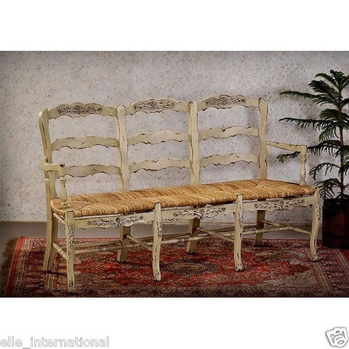 white french country 3 seat bench distressed finish over
